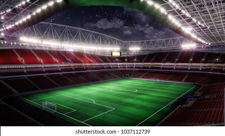 Soccer Stadium with Illumination  3D Rendering
