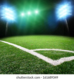 Soccer stadium with the lights