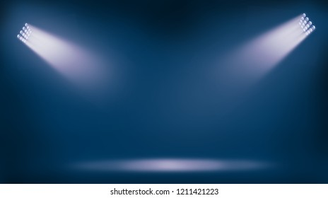 soccer stadium lights reflectors against blue background