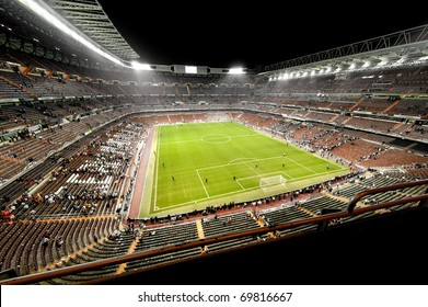 Soccer stadium in a night match