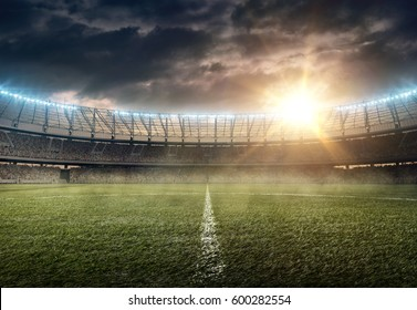 soccer stadium on a sunset
