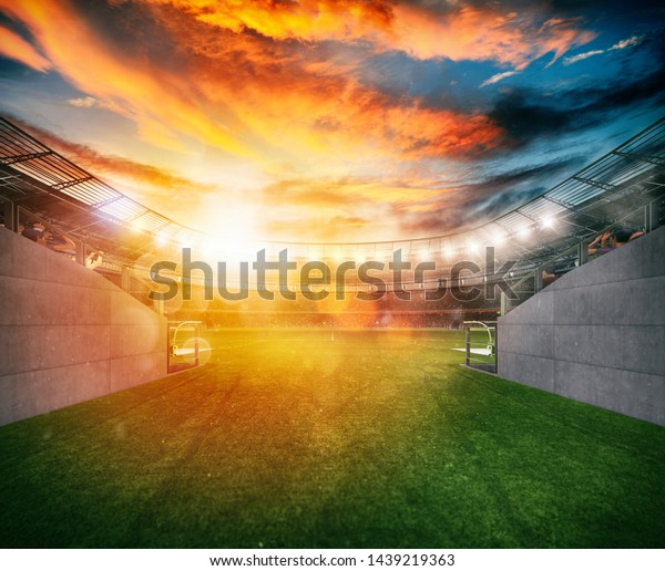 Soccer stadium seen by the exit of the locker room tunnel