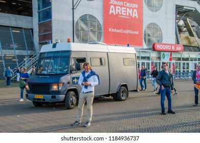 Soccer Stadium.Ajax Supporters Preparing For The Match With AEK Athens At Amsterdam The Netherlands 2018. The match takes place At 19-9-2018 at the Amsterdam Arena Soccer Stadium.