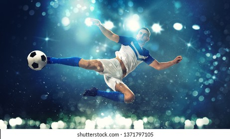 Soccer striker hits the ball with an acrobatic kick in the air on dark blue background
