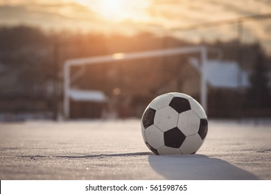 Soccer sunset / Football in the sunset at winter