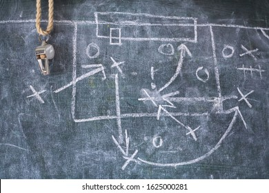 Soccer tactics diagram scribble and whistle of soccer or football referee on a black board, copy space