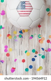 Soccer: United States Ball On A Confetti Background