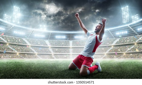Soccer wins. Professional soccer player celebrates winning the open stadium. Sport.