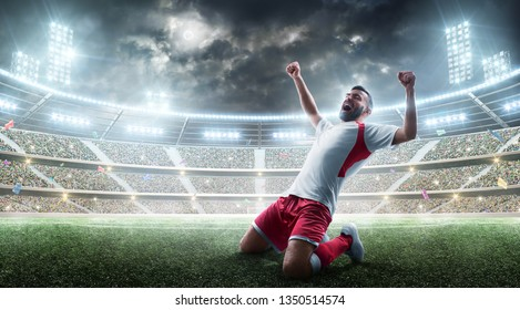 Soccer wins. Professional soccer player celebrates winning the open stadium. Sport. Joy of life