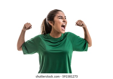 Soccer woman celebrating on green uniform isolated on white background