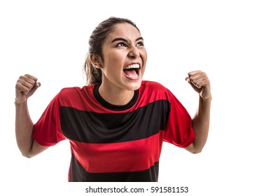 Soccer woman celebrating on red uniform isolated on white background