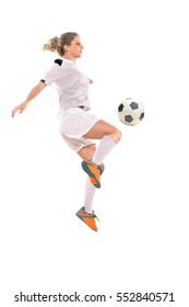 Soccer Woman isolated on white background