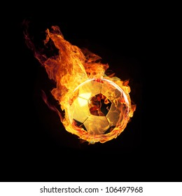 Soccerball on Fire or burning Soccerball on black