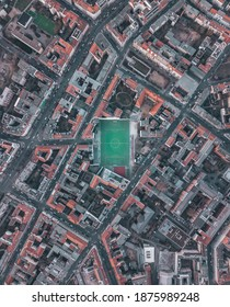 Soccerfield Football Field in Urban City Residential Neighborhood of Berlin, Germany, Aerial Birds Eye Overhead Top Down View