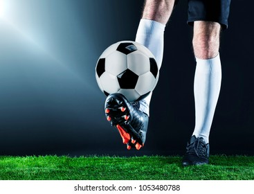 Soccer.Soccer player dribbling with ball