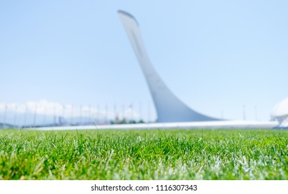 Sochi, Adler, Russia, 13 June 2018: Green grass and landmark Olympic Torch in Olympic park in summer, focus on foreground, 13 June 2018.