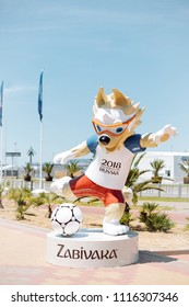 Sochi, Adler, Russia, 13 June 2018: Wolf Zabivaka, official mascot of the 2018 FIFA World Cup.