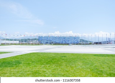 "Sochi, Adler, Russia, 13 June 2018: Ice Palace ""Iceberg"" in Olympic park in summer, 13 June 2018."