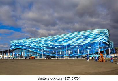 SOCHI, ADLER, RUSSIA - FEB 06, 2014: Iceberg Skating Palace at Olympic Park in Adlersky District, Krasnodar Krai - venue for the 2014 winter Olympics