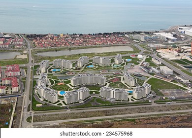 SOCHI, ADLER, RUSSIA - MAR 02, 2014: Azimut Hotel Sochi 3 near Olympic Park in Adlersky District, Krasnodar Krai, top view