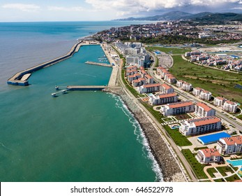 Sochi cityscape and Black sea shore from aerial view