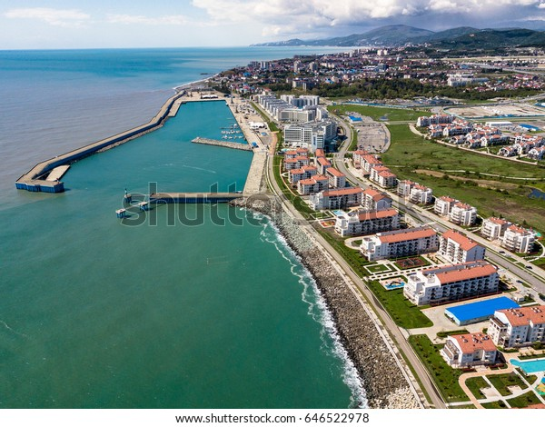 Sochi cityscape and Black sea shore from aerial view