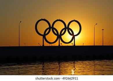 SOCHI, KRASNODAR KRAI, RUSSIA - AUG 07, 2015: The Olympic rings in the Sochi sea trading port