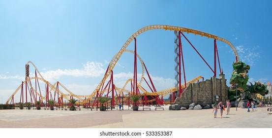 "SOCHI, KRASNODAR KRAI, RUSSIA - JUL 31, 2015: ""Sochi Park"" - a theme amusement park in the city, attraction Roller coaster"