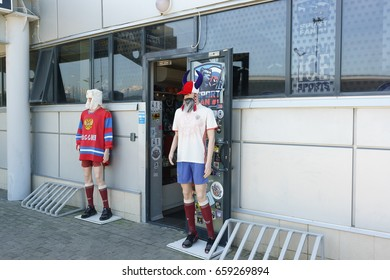 Sochi, Krasnodar Krai, Russia - June 05.2017: Mannequins at the entrance of the store with accessories for sports fans in the Olympic Park. Preparations for the FIFA confederations Cup 2017 in Russia