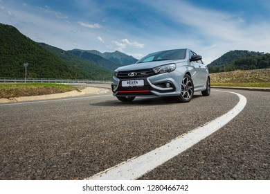 Sochi, Krasnodar region, Russia - August 31, 2018: Тhe new prestigious LADA Vesta Sport car on high-speed roads of Russian Federation. Presentation the new vehicle production of AVTOVAZ