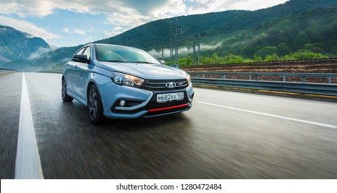 Sochi, Krasnodar region, Russia - September 01, 2018: Тhe new prestigious LADA Vesta Sport car on high-speed roads of Russian Federation. Presentation the new vehicle production of AVTOVAZ