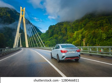 Sochi, Krasnodar region, Russia-September 01, 2018: Тhe new prestigious LADA Vesta Sport car on high-speed roads of Russian Federation. Presentation the new vehicle production of AVTOVAZ