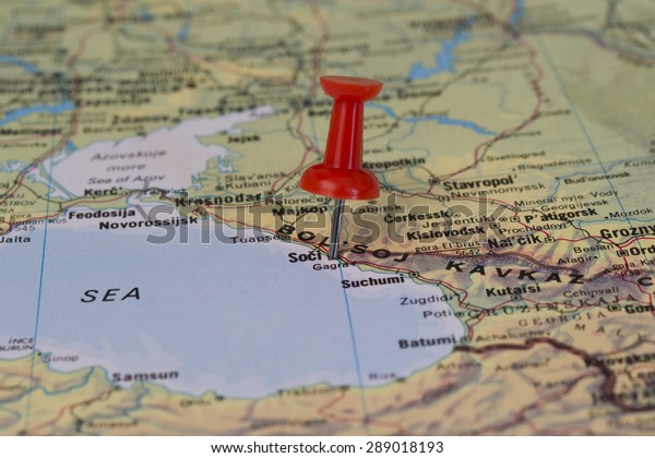 Sochi Marked Red Pushpin On Map Stock Photo (Edit Now) 289018193