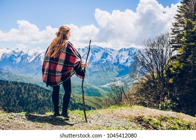 Sochi mountains and girl