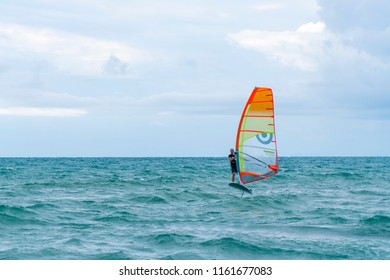 SOCHI, RUSSIA - 12.08.2018: the athlete trains on the surf. windsurfing