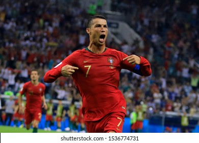 SOCHI, RUSSIA - 15 June, 2018: Cristiano Ronaldo during world cup group stage match vs Spain where Ronaldo illuminates stellar draw with Spain.