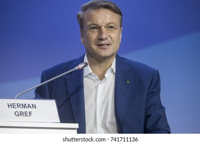 Sochi, Russia, 20 October, 2017: CEO and Chairman of the Executive Board at Russia's Sberbank, German Gref, at a panel discussion in the main media centre of Olympic park in Sochi, Russia
