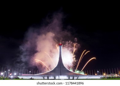 Sochi, Russia, 25.08.2018: Show of fireworks in Olympic park of Sochi