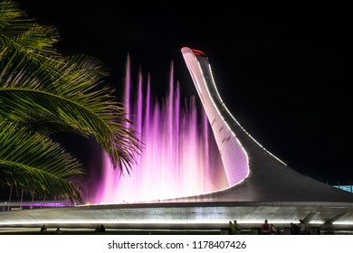 Sochi, Russia, 25.08.2018 - Singing coloured fountain in Olympic park of Sochi