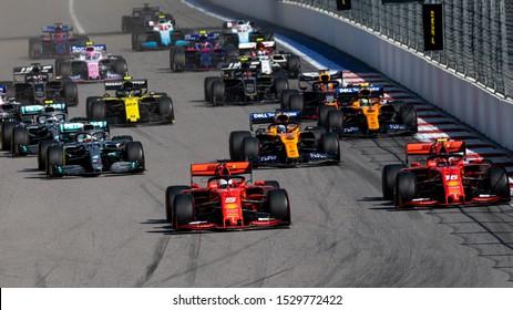 SOCHI, RUSSIA - 29 September 2019: Race Start at Formula 1 Grand Prix of Russia 2019