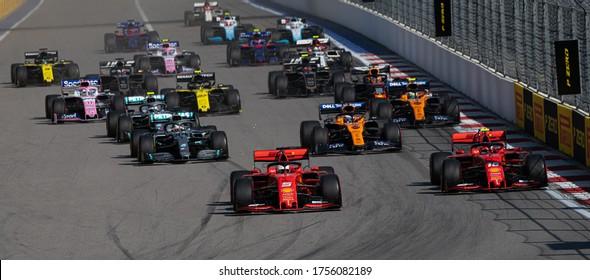 SOCHI, RUSSIA - 29 September 2019: Formula 1 Grand Prix of Russia 2019 Panoramic start photo