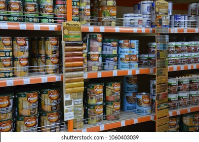 Sochi, Russia - 30 March, 2018: Paint shop shelves whith cans of acrylic and latex defense treatments for wood . Store Podkova by maksim zinchenko
