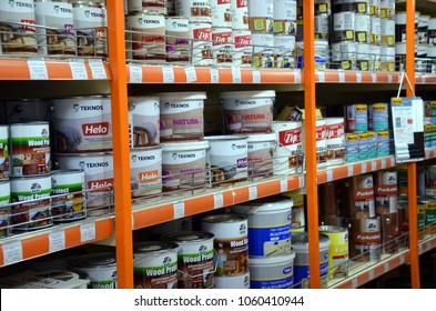Sochi, Russia - 30 March, 2018: Paint shop shelves whith cans of protect varnish or lacquer for wood treatment. Store Podkova by maksim zinchenko