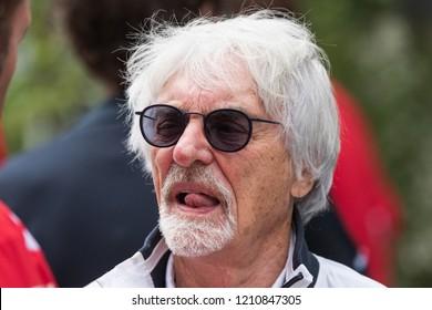 SOCHI, RUSSIA - 30 October 2018: Bernie Ecclestone at Formula 1 Grand Prix Russia 2018 in Sochi Autodrome