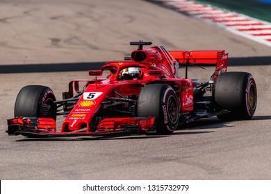 SOCHI, RUSSIA - 30 October 2018: Scuderia Ferrari at Formula 1 Grand Prix Russia 2018 in Sochi