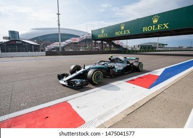 SOCHI, RUSSIA - 30 October 2018: Petronas Mercedes F1  Leading the Race at Formula 1 Grand Prix of Russia 2018
