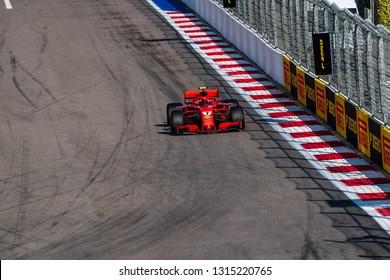 SOCHI, RUSSIA - 30 October 2018:Scuderia Ferrari at Formula 1 Grand Prix Russia 2018 in Sochi