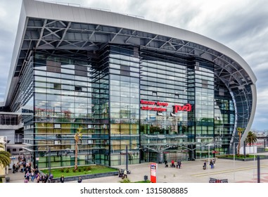 Sochi, Russia - April 26, 2014: Adler railway station building exterior made of modern design of metal and glass