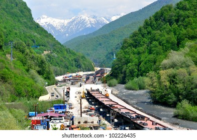 SOCHI, RUSSIA - APRIL 29: Construction of a combined railway and road Adler - Krasnaya Polyana in the river Mzymta on April 29, 2012 in Sochi, Russia