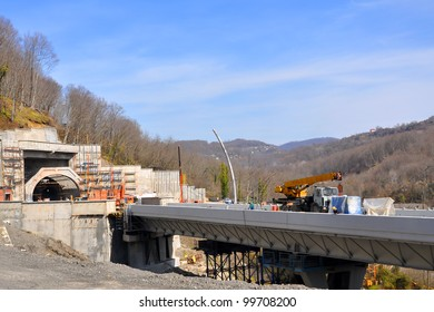 SOCHI, RUSSIA - APRIL 4: Construction of the road-doubler Kurortny prospectus for the Olympics 2014 in Sochi, Russia on April 4, 2012